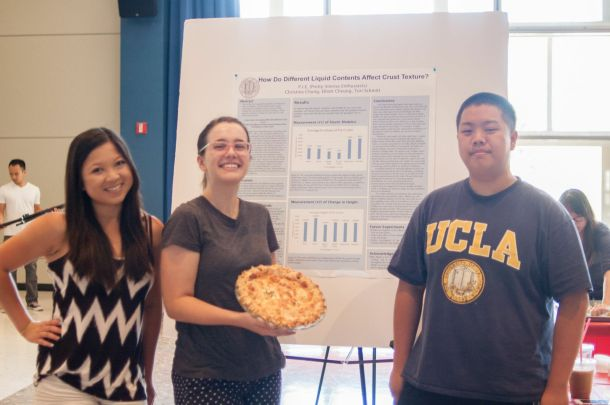 "Christina Chung, Tori Schmitt, and Elliot Cheung impressed the judges and won the ""Best Scientific Pie"" award"