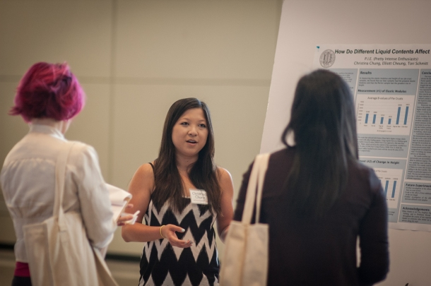 Christina Chung presenting team P.I.E's experiment to the judges (Photo Credits: Patrick Tran)