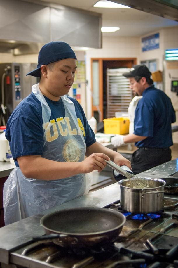 Elliot Cheung hard at work preparing pie (Photo Credit: Patrick Tran)