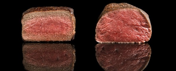 Traditionally cooked steak (left) vs. sous vide steak (right). The gradation is very visible in the traditionally cooked steak. Photo credit: Nathan Myhrvold/Modernist Cuisine