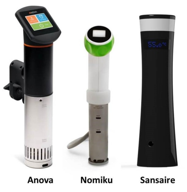 At-home immersion circulators from different popular brands. Photo credit: Modernist Cooking Made Easy