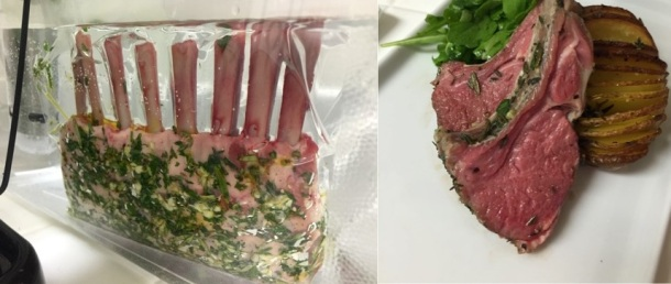 New Zealand rack of lamb with herb crust during the cooking process (left). Final product, lamb recipe from Epicurious and Hasselback potato recipe from The Kitchn. Photo credit: Ashton Yoon.